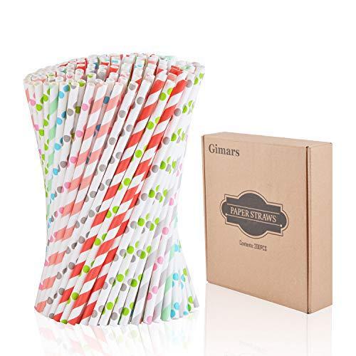 Gimars 200 Stück Papiertrinkhalme,Biologisch Abbaubare strohhalme aus Papier, trinkhalmepapier für Partys, Hochzeiten und Anlässe, 8 Farbe