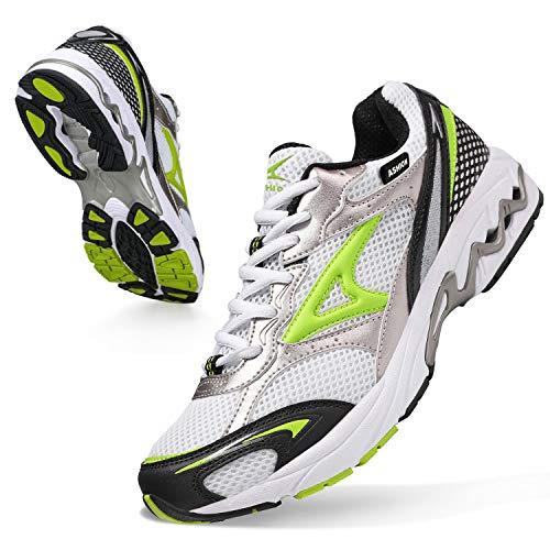ASHION Scarpe Running Uomo Trail Running Ragazzi Corsa su Strada Sportive Sneaker Ginnastica Donna ScarpeTrekking Fitness Casual 41 EU R Bianca