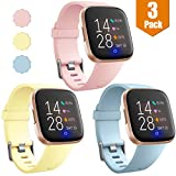 Maledan Compatible with Fitbit Versa/Fitbit Versa Lite SE/Fitbit Versa 2 Watch Bands for Women Men Large, Sports Replacement Wristband Strap for Fitbit Versa Smart Watch, Pink/Milk Yellow/Aqua