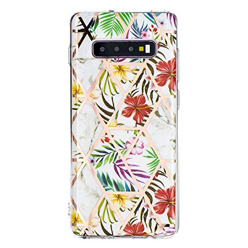 Miagon Marble Case for Samsung Galaxy S10,Bling Electroplated Phone Cover Glossy Flexible Soft Rubber Silicone Bumper Protective Shell For Girls,Leaf Flower