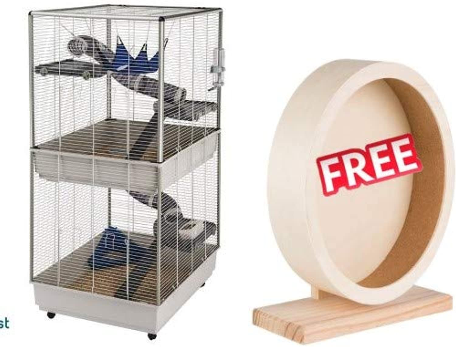 Ferret Ferplast Cage Furet Tower Rectangular Roomy Cage with 2 Levels Mobile Grey 80 x 75 x 161 cm Accessories Included FREE Trixie Wooden Exercise Wheel