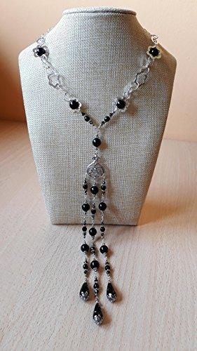 Collana lunga multifilo in pietre dure con onice nera e cristalli Swarovski