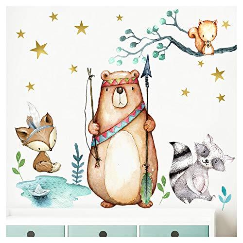 Little Deco Wandbild Waldtiere Pfeil & Bogen I S - 61 x 46 cm (BxH) I Wandbilder Wandtattoo Kinderzimmer Junge Deko Babyzimmer Junge Wandsticker Baby Bilder DL195