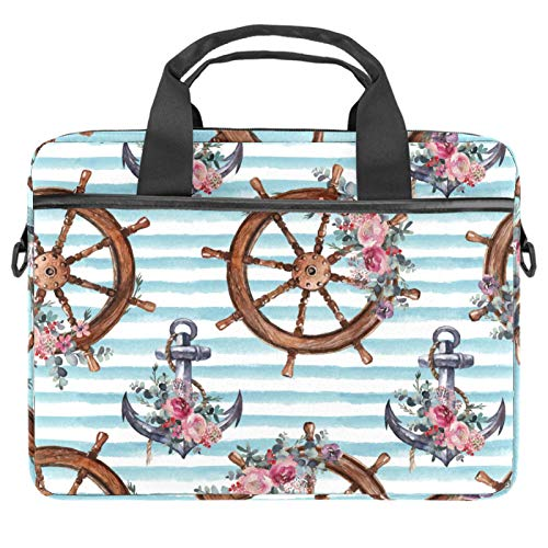 13-14.5 Inch Laptop Sleeve Case Nautical Steering Wheel Anchor and Flower On White Blue Striped Protective Cover Bag Portable Computer Notebook Carrying Case Briefcase Message Bag