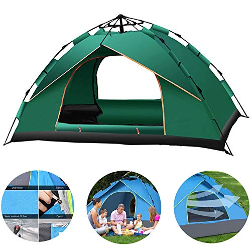 Automatic Camping Pop-up Tent 3-4 Person Updated Version Instant Setup Hydraulic Tents Double Layer Waterproof Dome Tent Large Family Tent Waterproof Easy Set-Up3~4 Person-Green