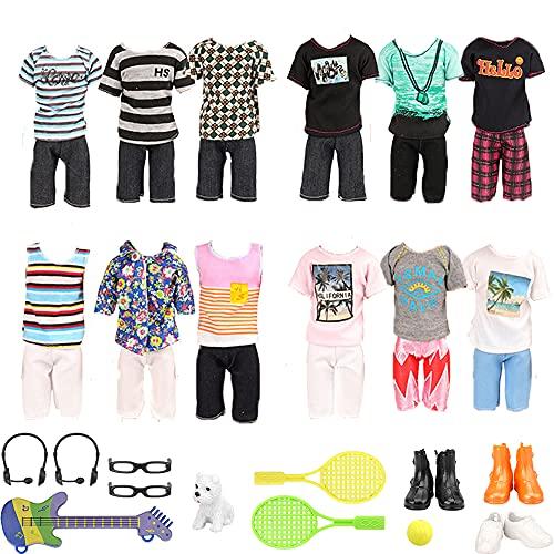 Miunana 22 Kleidung Zubehör für Puppen = 12 Freizeitbekleidung + 3 Schuhe + 2 Brillen + 2 Headset + 1 Laptop / Tennisschläger+ 1 Gitarre + 1 Hund für 12 Zoll Jungen Puppen