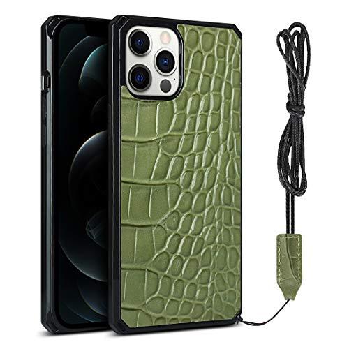 Krokodilmuster Handytasche für iPhone 12/12 Pro (6,1 Zoll) (Hellgrün)
