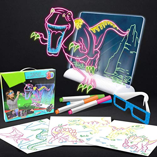 3D Fluorescent Drawing Board LED Three-Dimensional Writing Board Drawing Board Graffiti Board Children's Educational Drawing Toy(Color Box) Dinosaur