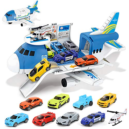 BeebeeRun Transport Cargo Airplane Toys - Car Toys for 3 4 5 Year Old Boys, 9 in 1 Take Apart Plane Toys Including 8 Sports Cars and 1 Helicopter, Gift for Boys