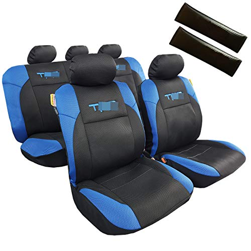 ITAILORMAKER Mesh Best Seat Covers & Carbon Fiber Seat Belt Cover Shoulder Pads - Embroidery Designs Auto Seat Protector 11pcs Full Set Car Interior Accessories for Trucks SUVs (Blue/Black)