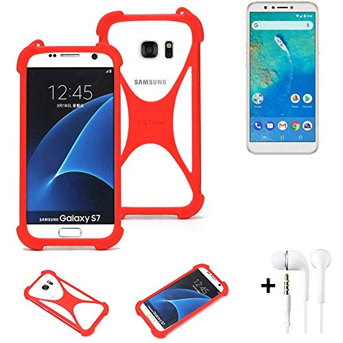 K-S-Trade® Handyhülle + Kopfhörer Für General Mobile GM 8 Schutzhülle Bumper Silikon Schutz Hülle Cover Case Silikoncase Silikonbumper TPU Softcase Smartphone, Rot (1x),