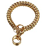 Gold Chain Dog Collar Leash 14mm Stainless Steel pet Collar Lead Leather Small Big Dog Pitbull Bulldog pet accessories-14mm Collar Only_6XL 14mmx75cm