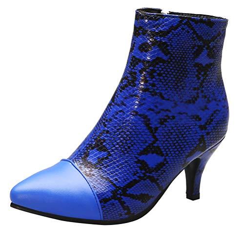 LUXMAX Damen Kitten Heels Ankle Boots Spitze Stiefeletten Schlangenmuster mit kleinem Absatz Schuhe(Königsblau 38)