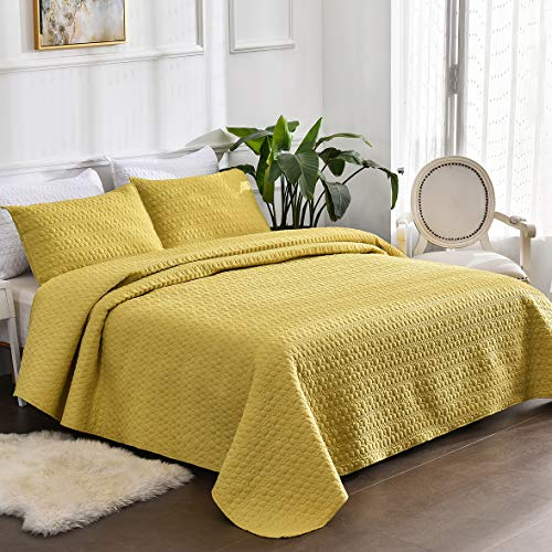 Litanika Yellow Quilt Set King Size (104x90 Inch), 3 Pieces (1 Quilt, 2 Pillowcases) Dot Stitched Coverlet Bedspread Bedding Set, All Season Lightweight Microfiber Down Alternative Quilted Blanket