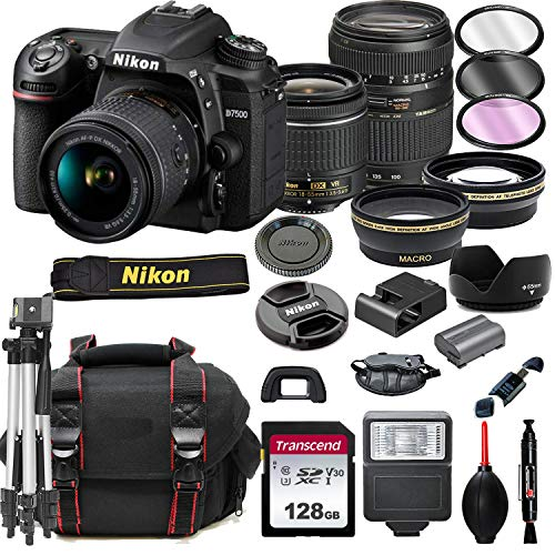 Nikon D7500 DSLR Camera with 18-55mm VR + Tamron 70-300mm + 128GB Card, Tripod, Flash, ALS Variety Lens Cloth, and More