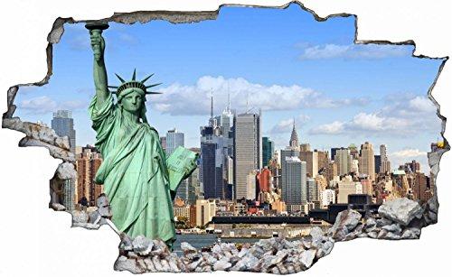New York Stadt Skyline Freiheitsstatue Wandtattoo Wandsticker Wandaufkleber C0097 Größe 60 cm x 90 cm
