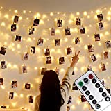 Foto clip Lichterketten, 10M 100LED Fotolichterkette mit Fernbedienung,USB/Batterie betrieben, Dekoration für Innen, Schlafzimmer, Hochzeit, Party, Weihnachten (50 Clip & 25 Nägel, warmes Licht)
