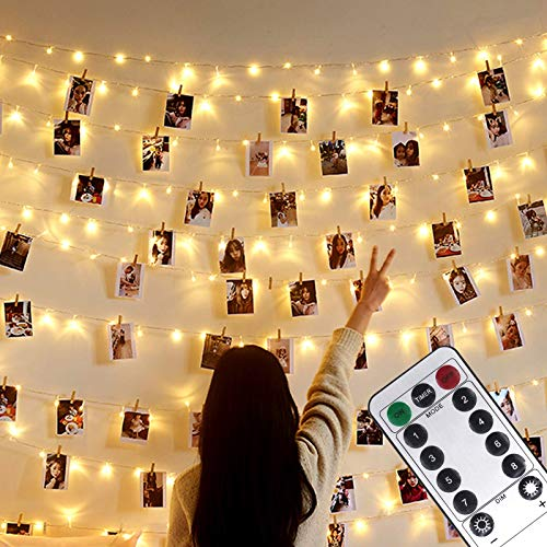 Photo Clip String Lights,USB or Battery Powered,100 LED 10M Copper Wire Hanging String Fairy Lights with Remote,Decoration for Indoor Bedroom Wedding Party (50 Clip & 25 Nails,Warm White,8 Modes)