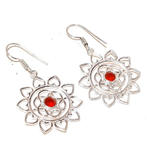 Gift For Girlfriend! Red RUBY Simulated Gems! Dangle EARRING 2' Long, Woman's! Silver Plated, HANDMADE! Jewelry From Shivi!