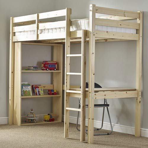 Strictly Beds and Bunks - Icarus Work Station Bunk Bed with table, chair and bookcase, 3ft Single