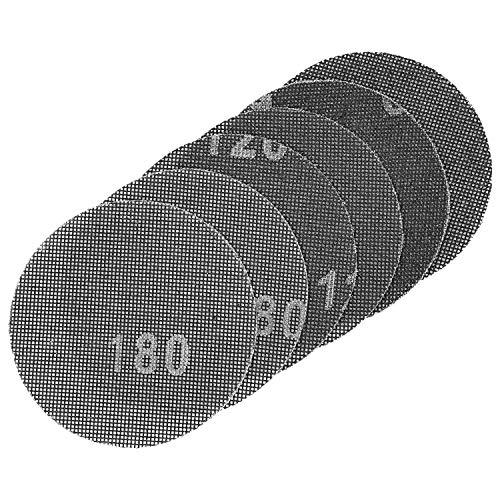 LUX-TOOLS Gitterleinen-Set 125mm mit Klett & verschiedenen Körnungen (K60, K120, K180), 6-teilig | 6 Schleifgitter für Exzenterschleifer zur Bearbeitung von Holz, Metall, Putz & Rigips