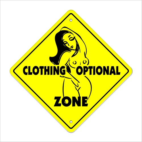 "Clothing Optional Crossing Sign Zone Xing | Indoor/Outdoor | 12"" Tall Plastic Sign pool swim supplies nude"