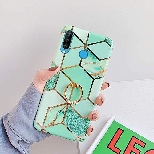 Uposao Compatible con Funda Huawei P30 Lite Purpurina Funda Girly Case 3D Geométrico Mármol Diseño + Anillo Soporte Móvil Diamante Glitter Brillante Carcasa Slim Silicona TPU Gel Suave Bumper,#7