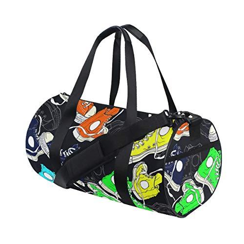 HARXISE Bolsa de Viaje,Zapatillas Coloridas en Pares sobre Fondo Oscuro,Bolsa de Deporte con Compartimento para Sports Gym Bag