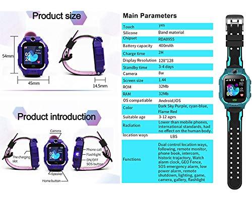 linyingdian Kinder Smartwatch für Kinder mit Telefonfunktion, SIM, Wasserdicht, Handy Touchscreen, kinderuhr Spiel Smartwatch mit Kamera Voice Chat Telefon SOS smart Watch Kinder Uhr Kinder (Lila)