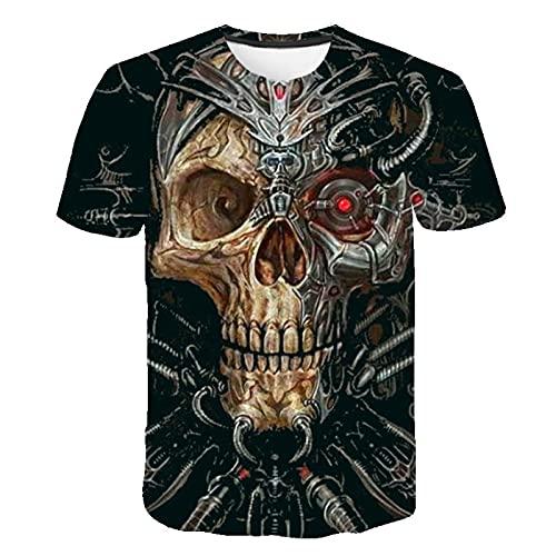 Totenkopf T-Shirt Frauen 3D Druck Sommer Coole Kurze Ärmel Rosa Totenkopf Top 5XL