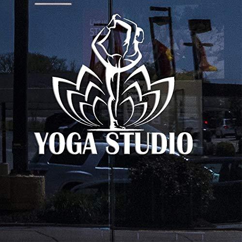 JXMN Yoga Studio Pegatinas de Pared calcomanías de Vinilo de Negocios para Carteles de Ventanas calcomanías de Pose de Yoga Pegatinas de Loto 56x62cm