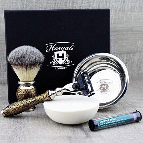Juego de afeitado de estilo vintage para hombres con brocha de afeitar sintética, maquinilla de afeitar, bandeja de afeitar y jabón de primera calidad
