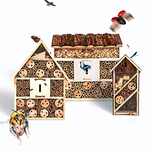 bambuswald© umweltfreundliche Insektenhotels als Set (3 Stück) - Bienenhotel Unterschlupf für Insekten - Insektenhaus Naturmaterialien. Gelebter Natur- & Artenschutz -Nützlingshotel