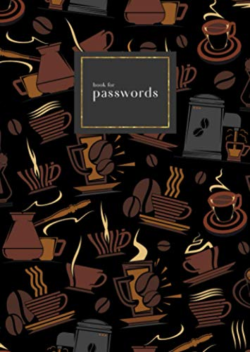 Book for Passwords: B6 Small Internet Address Notebook with A-Z Alphabetical Index   Coffee Maker Cup Bean Design   Black