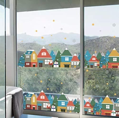 Noël hiver neige Ville maison stickers muraux fenêtre décoration de fête Nouvel An décoration de la maison Affiche Mural
