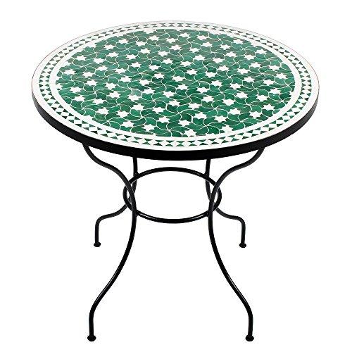 Albena Marokko Galerie Marokkaanse mozaïektafel maar 80 cm rond tuintafel bistrotafel terrastafel tegeltafel Mediterrane tafel ø 80cm Maar: groen/wit