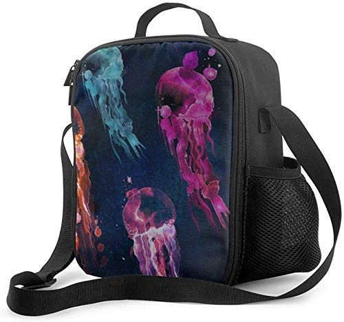 Watercolor Jellyfish Tropical Hippy Pineapples Leakproof Insulated Cooler Bag for Work School