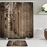 LISNIANY Conjunto De Ducha Cortina Alfombra,Retro Antigua callejuela de la Ciudad Europea con Edificios de Piedra clásicos Imagen de Cultura de Malta,Uso en baño, Hotel