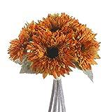 AILANDA 6 Bunches Sunflowers Artificial Flowers Bouquet Yellow Silk Flowers Stems Bulk Fake Floral Plants for Wedding Bridal Bouquet Autumn Home Decor Table Centerpieces