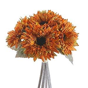 Silk Flower Arrangements AILANDA 6 Heads Sunflowers Artificial Flowers Bouquet Yellow Silk Flowers Stems Bulk Fake Floral Plants for Wedding Bridal Bouquet Autumn Home Decor Table Centerpieces