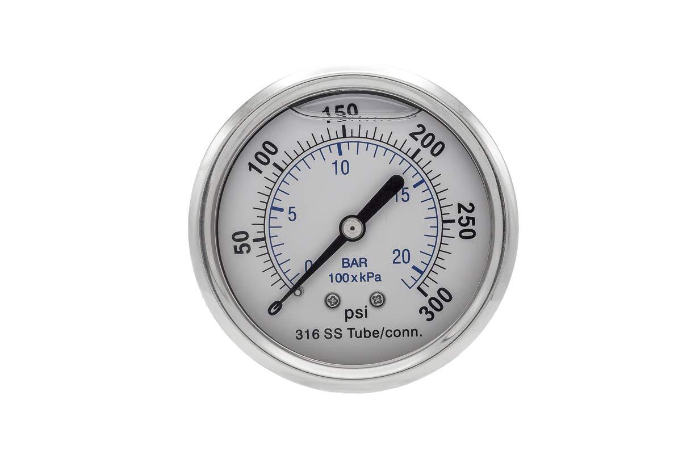 "302LFW-254R 2.5/"" Glycerin Filled SS 316 Internal Gauge 1//4/"" NPT CBM 0//5000 psi"