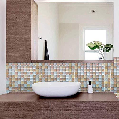 タイル風の壁紙シールは洗面所にぴったり。部分使いすると壁のアクセントになり、空間が明るく見えます。  #ウォールステッカー #タイル柄 #オレンジ
