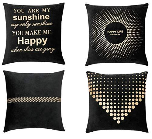 Home Essential - Juego de 4 fundas de cojín decorativas para sofá y sofá, 45 x 45 cm, color negro