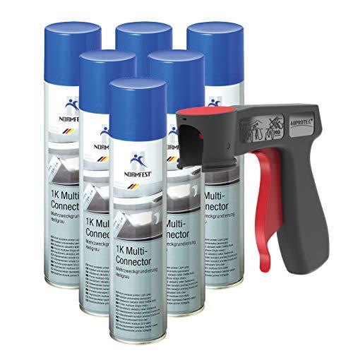 AUPROTEC 1K-Multi-Connector Mehrzweck Grundierung Füller Primer Rostschutz Spray 6X 400ml + 1x Original Pistolengriff