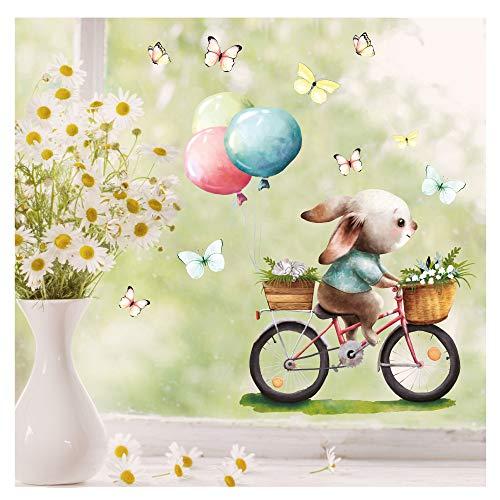 Wandtattoo Loft Fensterbild Frühling Ostern wiederverwendbar Fensteraufkleber Kinderzimmer/Hase Fahrrad (1140) / 1. DIN A4 Bogen
