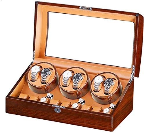 ZCYXQR Caja enrolladora de Reloj para 6 Relojes automáticos + 7 de Almacenamiento Motor silencioso Carcasa de Madera Pintura de Piano Exterior Devanadera de Reloj de Gran Capacidad