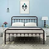 DUMEE Metal Bed Frame Queen Size Platform with Vintage Headboard and Footboard Sturdy...