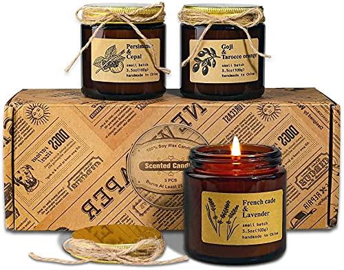 candele profumate biologiche Candele Profumate di 3 Pezzi in Vetro