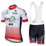 SUHINFE Traje Ciclismo Hombre, Maillot Ciclismo y Culotte Ciclismo con 5D Gel Pad para Verano Deportes al Aire Libre Ciclo Bicicleta, BH-White, XL