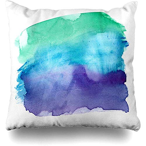 zjipeung Throw Pillows Covers Blue Color Vibrant Emerald Green to Dark Purple Gradient Watercolor Clean White Teal Water Home Decor Pillowcase Square Size 18' x 18' Cushion Case